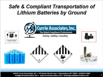 Safe and Compliant Transportation of Lithium Batteries by Ground (2018)