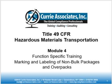 4: 49 CFR Non Bulk Marking and Labeling