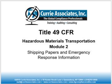 2: 49 CFR Shipping Papers and Emergency Response