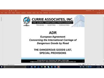 ADR Dangerous Goods List and Special Provisions