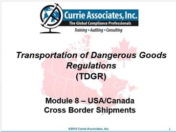 Module 8 - TDG_Cross_Border_Shipments_US-Canada 2018