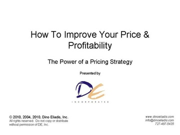 How to Improve Your Price and Profitability