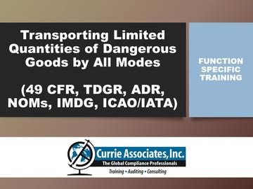 Transporting Limited Quantities of Dangerous Goods by All Modes (49 CFR, TDGR, ADR, NOMs, IMDG Amdt 38-16, ICAO/IATA) 2018