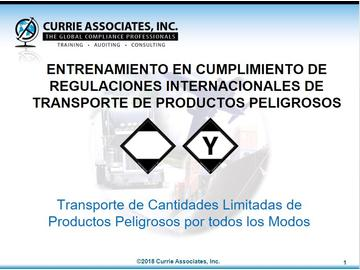 Transporting Limited Quantities of Dangerous Goods by All Modes (49 CFR, TDGR, ADR, NOMs, IMDG Amdt 38-16, ICAO/IATA) 2018 - Spanish