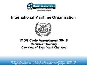 Currie Associates IMDG 39-18 Recurrent Training