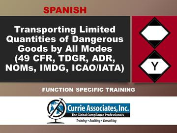 Transporting Limited Quantities of Dangerous Goods by All Modes (49 CFR, TDGR, ADR, NOMs, IMDG Amdt 39-18, ICAO/IATA) 2020 - Spanish