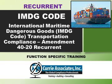 IMDG Code Amd 40-20 Recurrent Training (Course)