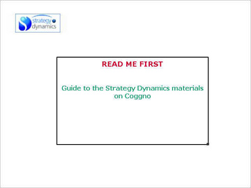 README FIRST Guide to the Strategy Dynamics materials v1.0