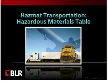 Hazmat Transportation: Hazardous Materials Table