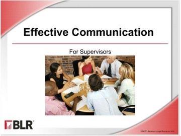 Effective Communication for Supervisors Course