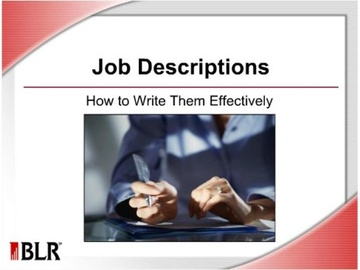 Job Descriptions -- How to Write Them Effectively Course