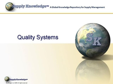Quality Systems for Procurement