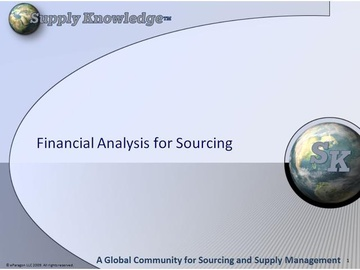 Financial Analysis for Sourcing