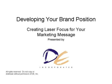 Brand Position - Creating Your USP Course