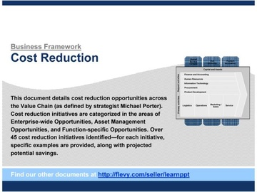 Cost Reduction Opportunities (across Value Chain)