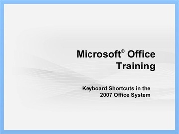 Microsoft Office Keyboard Shortcuts with 2007